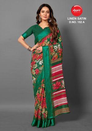 Apple Linen Satin 152 Casual Wear Saree Collection