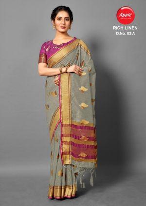 Apple Rich Linen 2 Casual Linen Printed Saree Collection