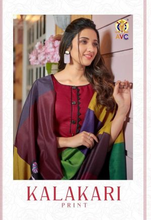 Avc Kalakari Print Casual Wear Cotton Dress Materials Collection