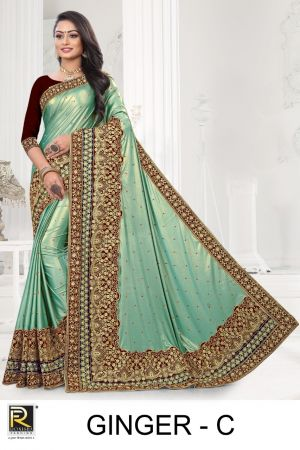 Ronisha Ginger Casual Wear Embroidery Worked Saree Collection