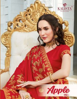 Kalista Apple 2 Festive Wear Embroidery Worked Sarees Collection