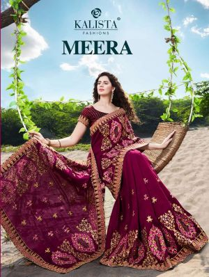 Kalista Meera Festive Wear Embroidery Worked Sarees Collection