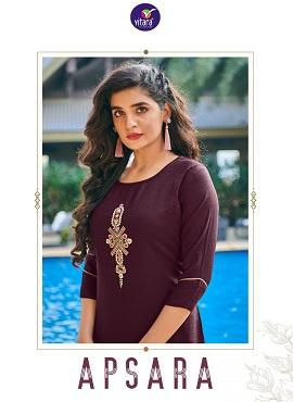 Vitara Apsara Embroidery Ethnic Wear Kurti With Bottom Collection
