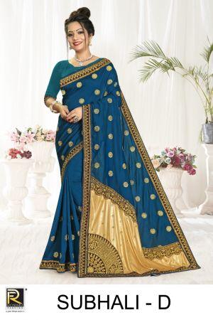 Ronisha Subhali Silk Embroidery Worked Saree Collection