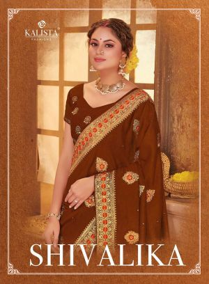 Kalista Shivalika Festive Wear Embroidery Worked Sarees Collection