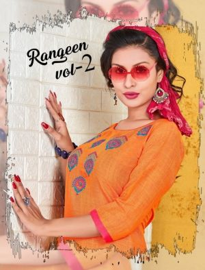 Trendy Rangeen 2 Regular Wear Rayon Designer Kurtis Collection