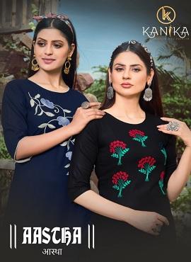 Kanika Aastha Rayon Embroidery Work Designer Kurtis Collection