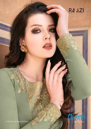 Raazi Almas Georgette Embroidery Designer Salwar Suits Collection