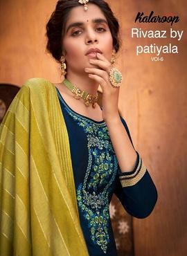 Kalaroop Rivaaz By Patiyala 6 Jam Silk Embroidery Readymade Collection