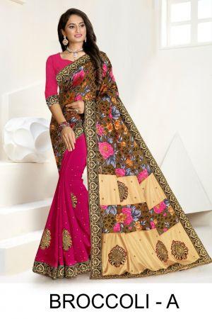 Ronisha Broccoli Casual Wear Designer Vichitra Silk Sarees Collection