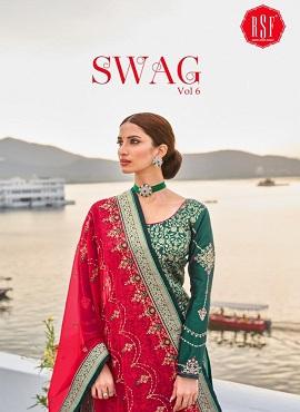 Rsf Swag 6 Jacqurad Silk Handwork Designer Dress Material Collection
