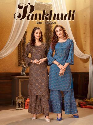 Ft Pankhudi 1 Fancy Rayon Designer Kurti With Bottom Collection