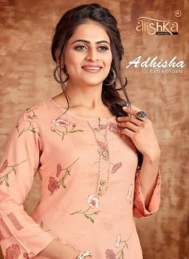 Alishka Adhisha Rayon With Foil Print Kurti With Bottom Collection