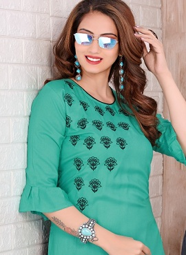 Trendy Colours Rayon Casual Wear Embroidery Kurti With Bottom Collection