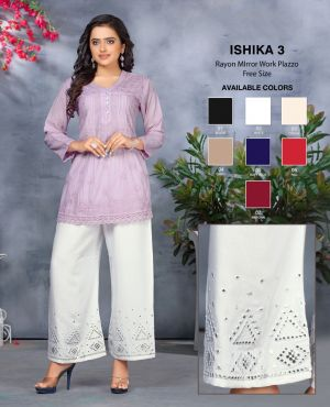 Ishika 3 Premium Rayon Mirror Work Plazzo Collection