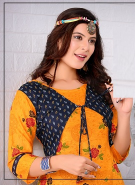 Trendy Tip Top Heavy Rayon Printed Jacket Kurti With Bottom Collection