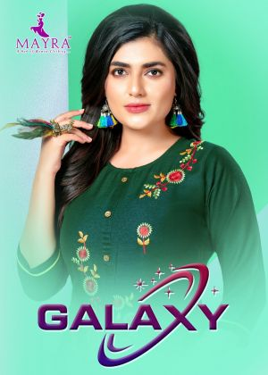 Mayra Galaxy Fancy Embroidery Rayon Kurti With Bottom Collection