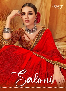 Saroj Saloni Fancy Casual Wear Printed Georgette Sarees Collection