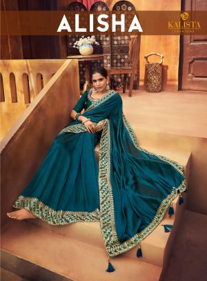 Kalista Alisha Festive Wear Embroidery Worked Sarees Collection