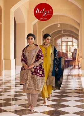 Lt Nitya 166 Satin Georgette Designer Dress Material Collection