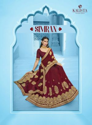 Kalista Simran Festive Wear Embroidery Worked Sarees Collection