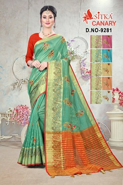 Canary 9281 Casual Wear Embroidery Cotton Sarees Collection
