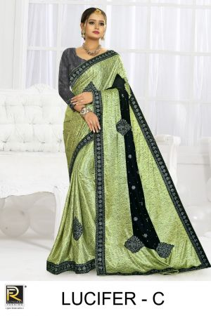 Ronisha Lucifer Embroidery Worked Designer Saree Collection