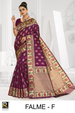 Ronisha Falme Silk Fancy Casual Wear Saree Collection