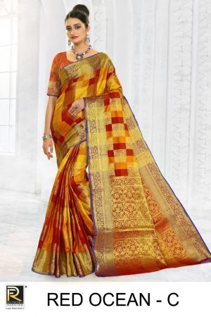 Ronisha Red Ocean Silk Fancy Casual Wear Saree Collection
