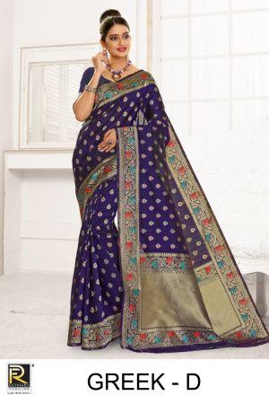 Ronisha Greek Silk Fancy Casual Wear Saree Collection