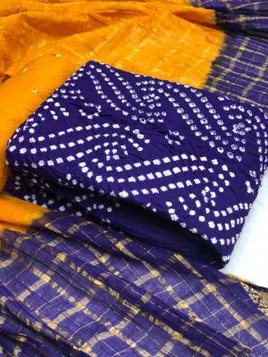 Satin Bandhej 2 Bandhani Dress Material