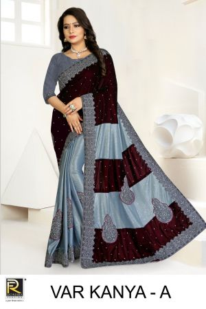 Ronisha Var Kanya Embroidery Worked Cut Paste Saree Collection