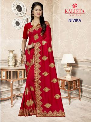 Kalista Nivika Nx Party Wear Silk Embroidered Saree Collection