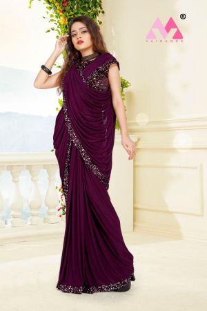 Clovia Knitted Lycra Ready To Wear Saree Collection