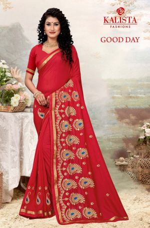 Kalista Good Day Vichitra Silk Embroidery Work Saree Collection