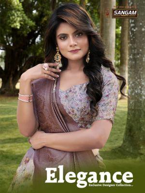 Sangam Elegance Pure Linen Silk Digital Printed Sarees Collection