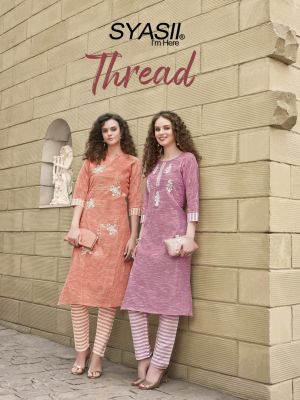Syasii Thread Khadi Cotton Kurti With Bottom Collection
