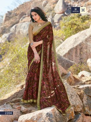 Hirva Flowery Casual Wear Printed Saree Collection
