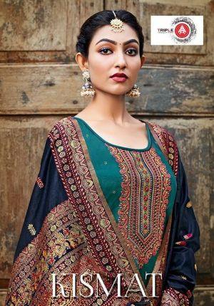 Triple Aaa Kismat Silk Festive Wear Fancy Dress Material