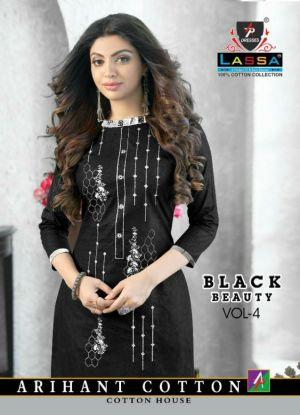 Arihant Lassa Black Beauty Printed Cotton Dress Material Collection