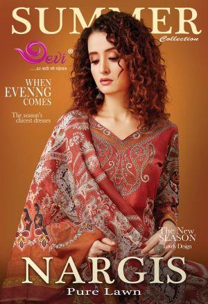 Devi Fashion Nargis Pure Lawn Karachi Cotton Dress Material Collection
