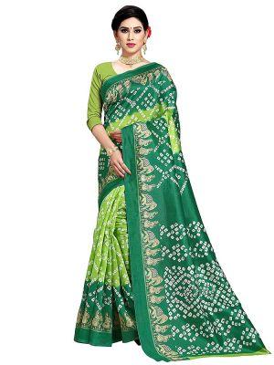 PF 316 Casual Wear Art Silk Bandhani Print Saree Collection