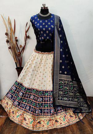 Simran Lehenga 8 Party Wear Designer Banarasi Silk Lehenga Collection