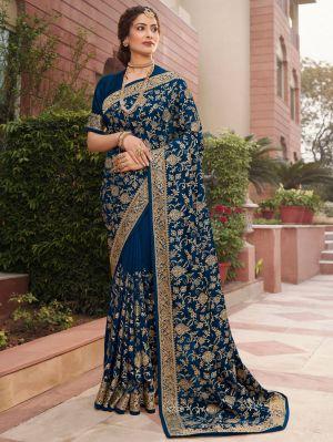 Sakshi 17 Rangoli Silk Embroidery Work Saree Collection