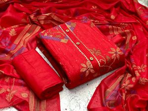 Radhika Red Designer Suits 20 Cotton Dress Material Collection