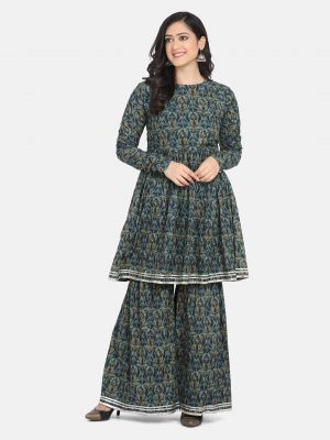 Shaily 8009 Party Wear Floral Printed Kurti With Sharara Collection