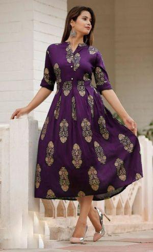 Rayon 1 Fancy Wear Anarkali Long Kurti Collection