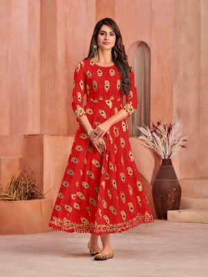 Poonam Minakari Gown Rayon Printed Anarkali Long Kurti Collection