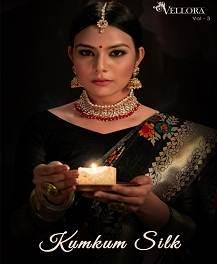 Vellora 3 Banarasi Cotton Silk Festive Wear Designer Saree
