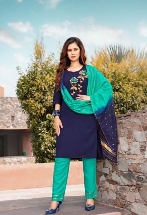 Pasand Ethnic Wear Hand Work Kurti With Pant And Dupatta Collection